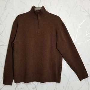 Scappino Partial Zip Mock Neck 100% Wool Sweater